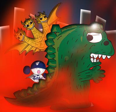 ずたたん版ゴジラ風怪獣&キングギドラ風怪獣