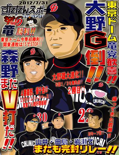 ずたスポ7月31日号 東京ドーム竜党歓喜!!大野G倒!!森野またV打だ!!