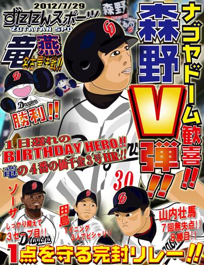 ずたスポ7月29日号 ナゴヤドーム歓喜!!森野V弾!!