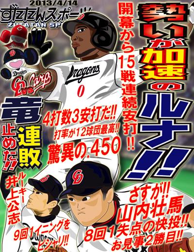 ずたスポ4月14日号 勢いが加速のルナ!!開幕から15戦連続安打!!