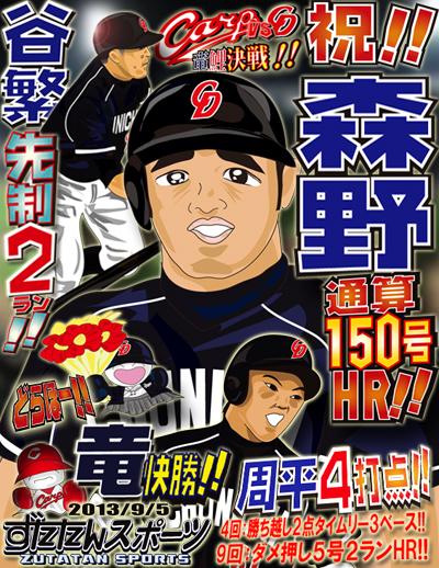 ずたスポ9月5日号 祝!!森野通算150号!!周平4打点!!谷繁先制2ラン!!竜快勝!!